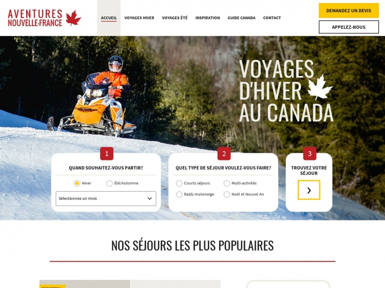 Découvrez le Canada pendant l'hiver : Aventures Nouvelle France