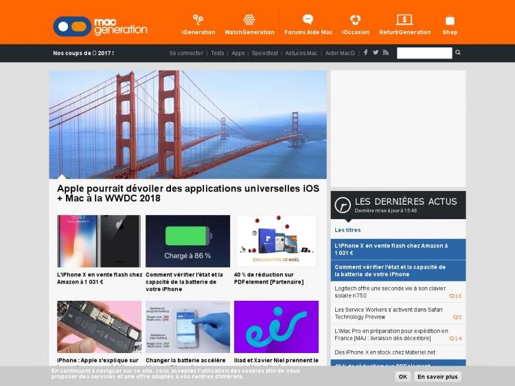 Mac Génération : portail dédié au Mac et à Apple