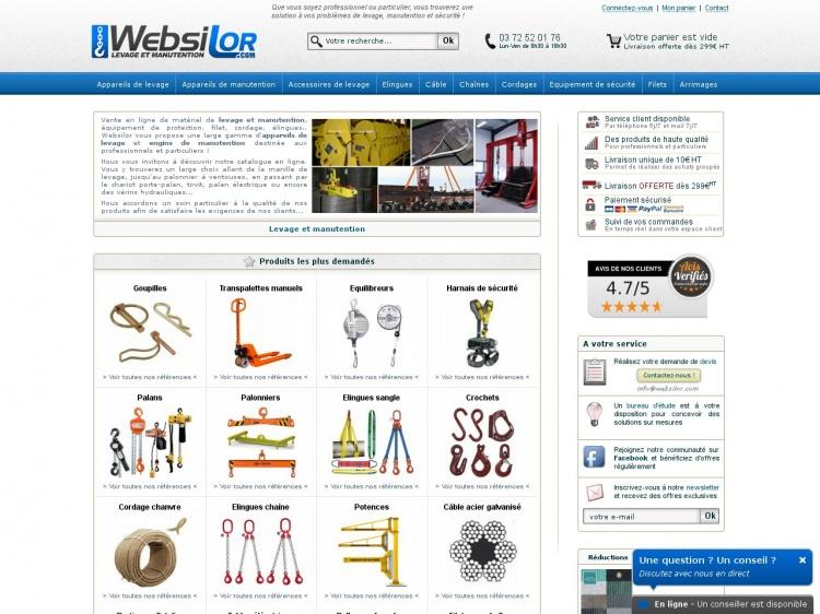 Websilor, boutique en ligne de matériels industriels